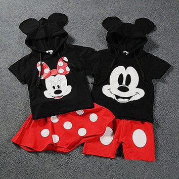 2016 cute new style Baby Boy Girls Kids Minnie Mouse Clothes Tops Dress tutu Pants Outfit Clothing Set