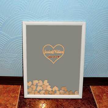 3D Wedding Guest Book Alternative Drop Top Guestbook Personalised Wooden Wedding Guestbook Heart Drop Top Box Rustic Wedding Guest Book