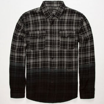 Blue Crown Dip Dye Mens Flannel Shirt Black  In Sizes