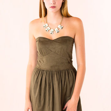 Made In The Suede Dress in Green
