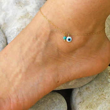 Evil Eye Anklet, Turquoise Ankle Bracelet, 14k Gold Filled or 925 Sterling Silver, Delicate Anklet, Foot Jewelry, Summer Beach Jewelry,