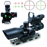 2.5-10X40 Illuminated Mil-dot Tactical Hunting Rifle Optical Scope w/ Red Laser & Holographic Green / Red Dot Sight