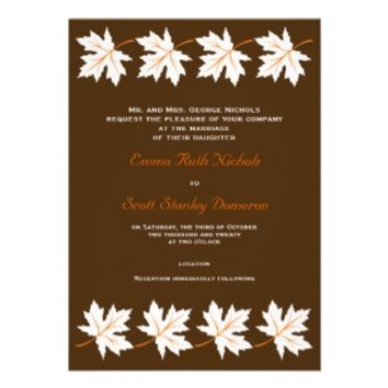 Elegant maple leaves brown fall/autumn wedding invitations from Zazzle.com