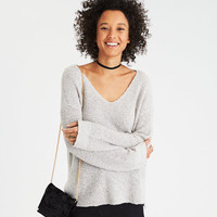 AE Textured V-Neck Jegging Pullover, Gray