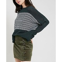 round neck striped ribbed knit sweater - teal green