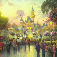 "Thomas Kinkade Signed and Numbered Limited Edition Print and Hand Embellished Canvas :""Disneyland 50th Anniversary"""