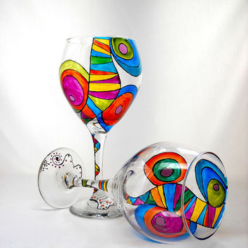 Colorful Wine Glasses Hand Painted Glassware Made to Order