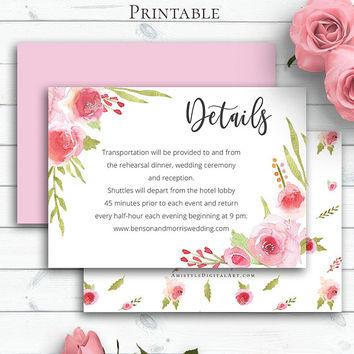 Blush Wedding Details Card, Personalized Details Template, Wedding Insert Card, Wedding Info, Watercolour Roses, Floral Wedding Card