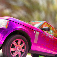 Hot Pink Range Rover Photograph by Daphne Sampson - Hot Pink Range Rover Fine Art Prints and Posters for Sale