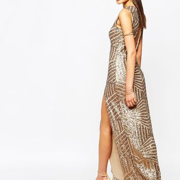 Club L Plunge Open Back Sequin Maxi Dress With Thigh Split