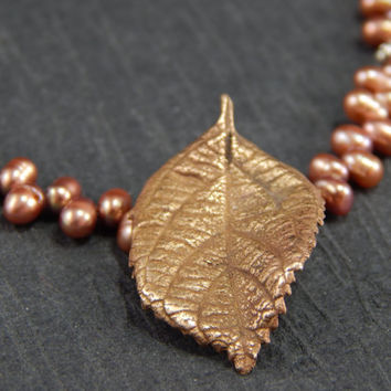 cast bronze leaf necklace, pink pearl necklace, nature jewelry, handmade findings