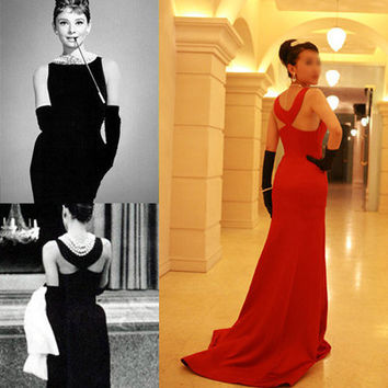 audrey hepburn silk dress 50s dress 1950 dress vintage inspired black red Breakfast at Tiffany's