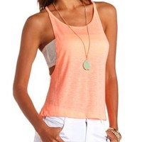Neon Dropped Armhole Slub Tank Top by Charlotte Russe - Neon Orange