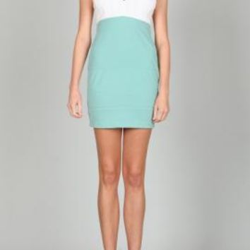 Flirtatious Behavior Strapless Plunge Sweetheart Colorblock Dress in White/Aqua by Ark & Co | Sincerely Sweet Boutique