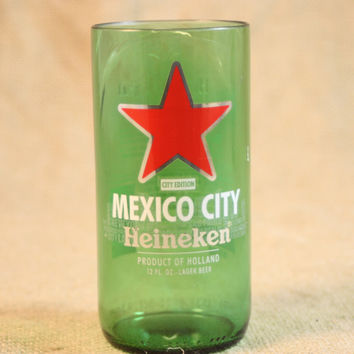 Drinking Glass from Recycled Heineken Mexico City Edition Beer Bottle, 8 oz, Unique Barware, Unique Gift, ONE glass