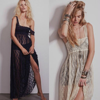 Crochet Sheer Lace Split Maxi Dress