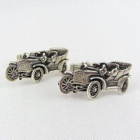 Vintage Fenwick and Sailors Sterling Silver Model T Classic Car Cufflinks Mid Century F&S Automobile Cuff Links Mens Accessory