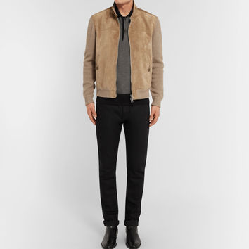 TOM FORD - Suede-Panelled Cashmere and Linen-Blend Jacket