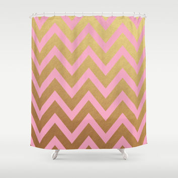 pink and gold chevron Shower Curtain by Her Art