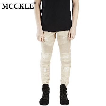 MCCKLE Fashion Hi-Street Mens Khaki Ripped Biker Denim Jeans Famous Brand Designer Skinny Motorcycle Jeans Mens Distressed Jeans