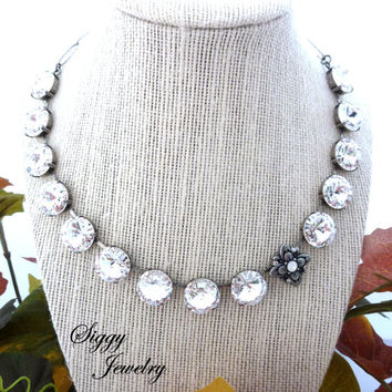 Swarovski Crystal 14mm Necklace, Fancy Large Stones with Off-Set Flower, Statement Necklace, Antique Silver, Siggy Jewelry
