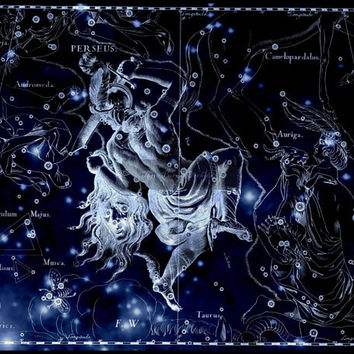 Perseus, Constellation, Metallic Art Print, Greek Mythology, Star Map, constellation art