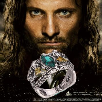 2017 Fashion Jewelry Lord Aragorn's Ring of Barahir Retro Antique Silver Green Crystal Ring For And Men Holder