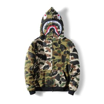 ca auguau Hot BAPE A Bathing Ape Hoodie Sweats Camo Men's Shark Head Full Zip Coat Jacket