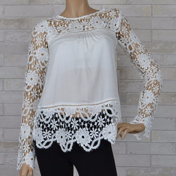 Fashion on Earth Bohemian Floral Lace Top - Off White