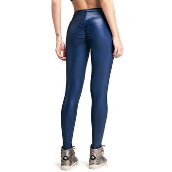 BLUE LIQUID SCRUNCH LEGGINGS