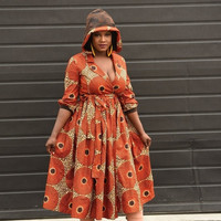 LABOUR DAY SALE New Hoodie Wrap dress African clothing African print  dress Rahyma