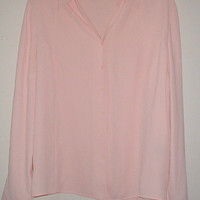 SUMMER SALE Norton McNaughton Salmon Pink Button Down Long Sleeve Top Size 16