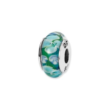 Blue, White Floral Hand-Blown Glass Bead & Sterling Silver Charm, 13mm