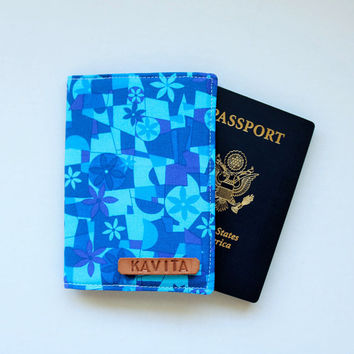 Blue Passport Cover personalized Christmas Stocking Gift under 10, Personalized Gift for Men, Passport Holder - SKPC20