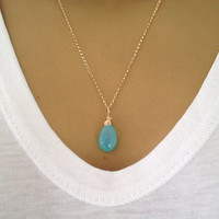 Long Boho Necklace Wire Wrapped Aqua Chalcedony UK Shop