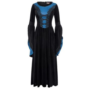 Womens Medieval Costume Long Gown Dress Bell Sleeve Renaissance Victorian Punk Dress For Halloween Women Gothic Vintage Dresses