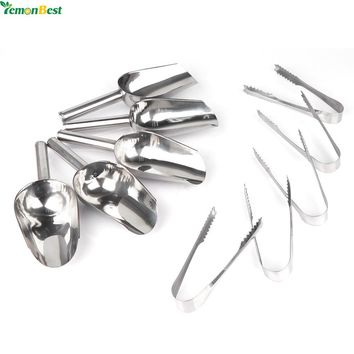 "5pcs 8'' Stainless Steel Scoops And 5pcs 6"" Ice Tongs For Ice Bucket Wedding Restaurant Bar Buffet"