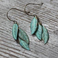 tinkerbell green leaves indie earrings - $14.99 : ShopRuche.com