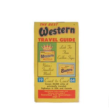 Vintage Travel Guide The Best Western and The Best Eastern Motels 1964 - Alphabetical Index - Yellow Cover - Mid Century Graphics