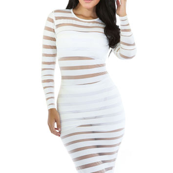White Longsleeve Mesh Stripes Bodycon Midi Dress