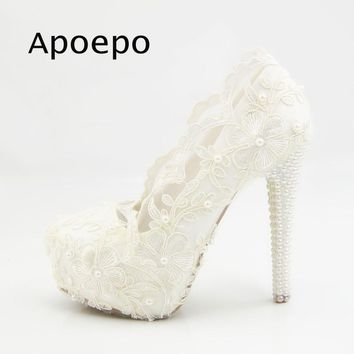Apoepo White Lace Flower Embroidery High Heel Shoes 2018 White Pearls Beaded Wedding Heels For Woman Sexy Platform Pumps