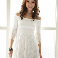 Womens White Summer Dress with Layered Lace Skirt
