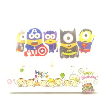 5pcs/set Minions Party Supplies Kids Birthday Candles Evening Party Decorations Set Birthday Wedding Party Cake Candles