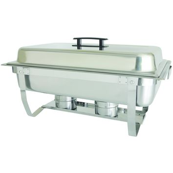 Commercial Stainless Steel 8 Qt. Full Size Rectangular Welded Chafer