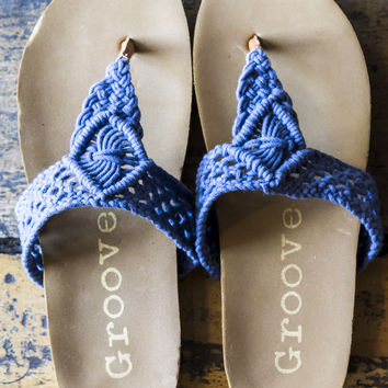 Easy Does It Navy Crochet Thong Sandals