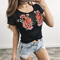 Summer Women's Fashion Hot Sale Lace Floral Short Sleeve Round-neck T-shirts [10357214669]