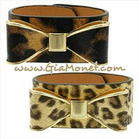 Set of two leopard and cheetah bow cuff bracelets