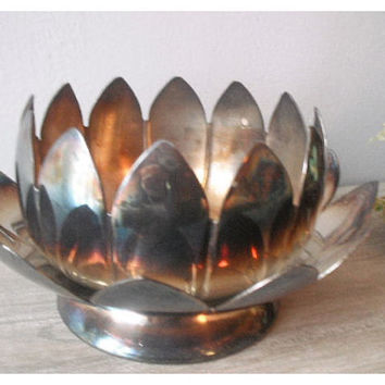 vintage silver plate ... Lotus Flower Dish ..... planter .... server ... Romantic  silverplate