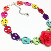 Rainbow Day of the Dead Necklace Sugar Skull Rose Jewelry