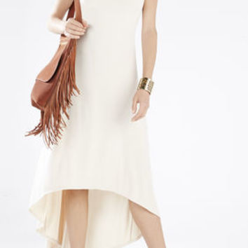 Fara High-Low Twist Open-Back Dress - White